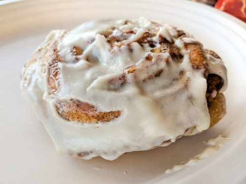 Cinnamon roll from Bagels and Brew in Lake Forest, CA